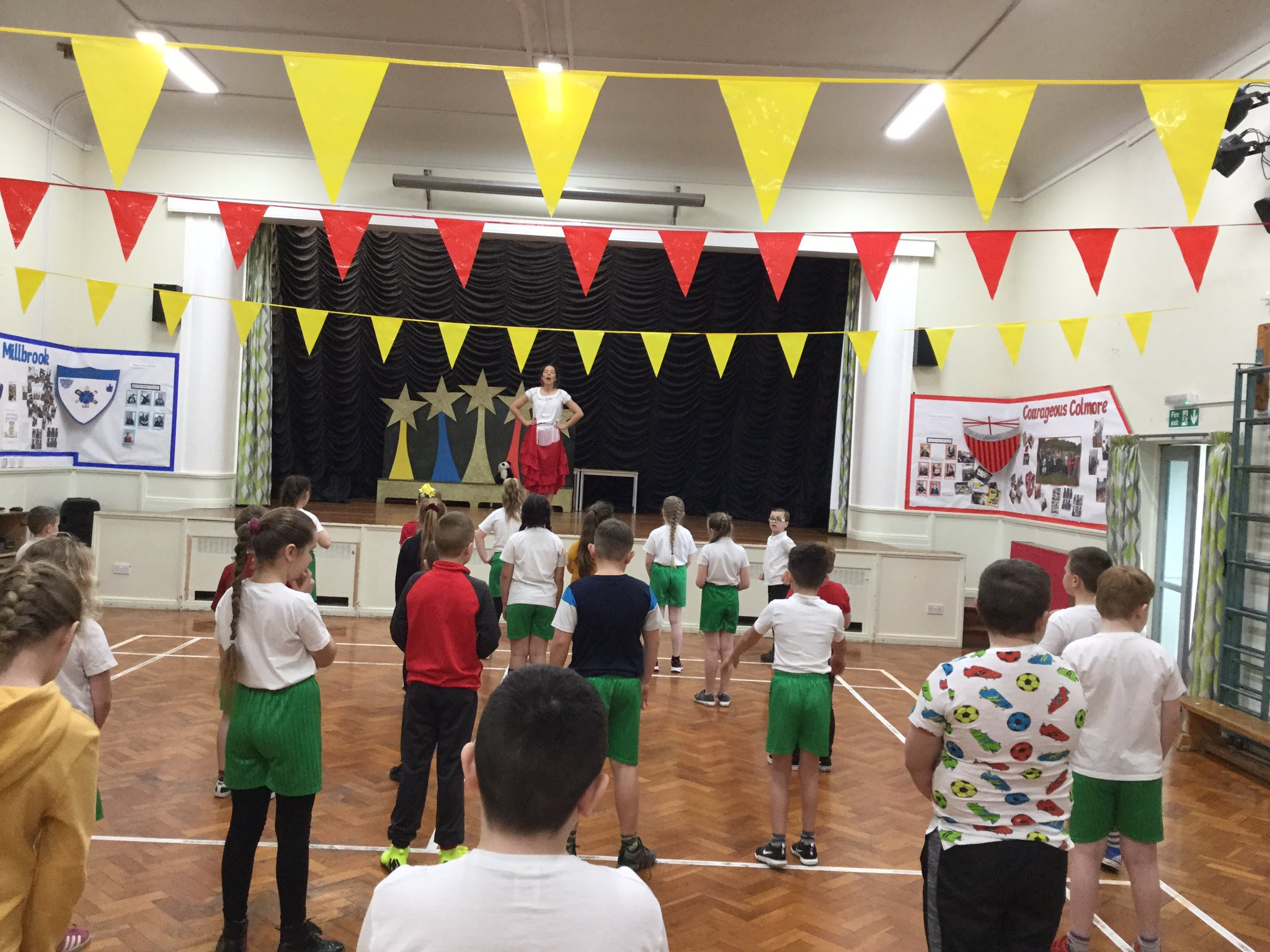Lucia Flamenco dancer teaching at primary school