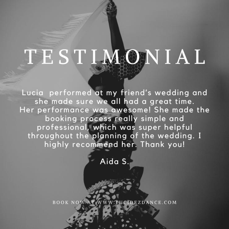 Testimonial Flamenco dancer for weddings